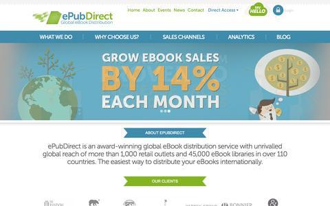 Screenshot of Home Page epubdirect.com - ePubDirect - Global eBook Distribution - captured Sept. 16, 2014