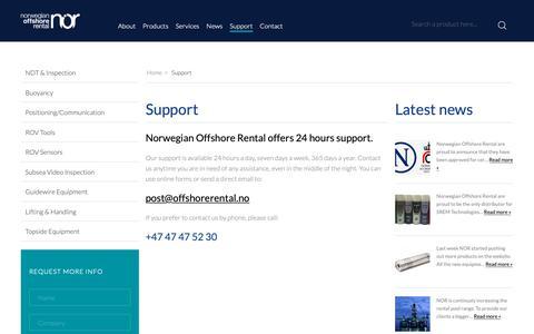 Screenshot of Support Page offshorerental.no - Support - Norwegian Offshore Rental - captured Oct. 18, 2018