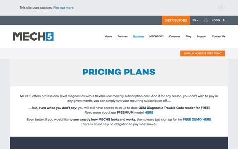 Screenshot of Pricing Page mech5.com - Pricing Plans | MECH5 - captured July 11, 2018
