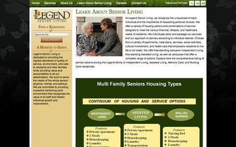 Screenshot of Services Page legendseniorliving.com - Senior Personal Choices Lifestyle Healthcare Senior Apartments Meal Plans Activities - Legend Senior Living - captured Sept. 29, 2014