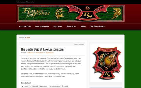 Screenshot of About Page wordpress.com - Dojo News | Raven Storm's Guitar Dojo | Guitar Instruction Tailored to You! - captured Oct. 26, 2014