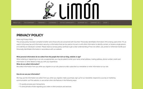 Screenshot of Privacy Page limon.org - Privacy Policy - Limón - captured Nov. 14, 2018