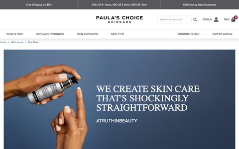 Screenshot of About Page paulaschoice.com - About Paula's Choice: Paula's Choice Skincare & Cosmetics | Paula's Choice - captured Oct. 6, 2018