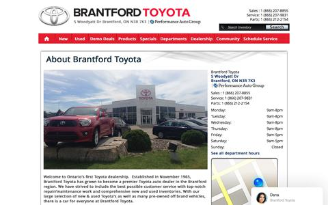 Screenshot of About Page brantfordtoyota.ca - Brantford Toyota Dealership Ontario New & Used Dealer Cambridge Area | 1 (866) 207-8855 N3R 7K3 | Corolla, Camry, Yaris, RAV4, Matrix, Prius, Venza, Avalon, Sienna, Highlander, FJ Cruiser, 4Runner, Sequoia, Tacoma, Tundra About Us Contact Hours Direc - captured Feb. 9, 2018