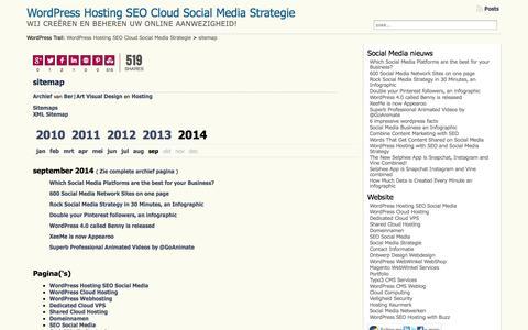Screenshot of Site Map Page ber-art.nl - sitemap - WordPress Hosting SEO Cloud Social Media Strategie - captured Sept. 22, 2014
