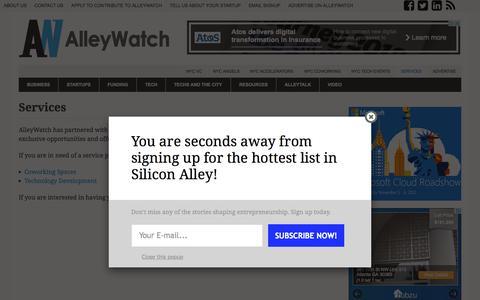 Screenshot of Services Page alleywatch.com - Services - AlleyWatch - captured Oct. 28, 2015