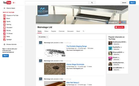 Screenshot of YouTube Page youtube.com - Mainstage Ltd  - YouTube - captured Oct. 23, 2014