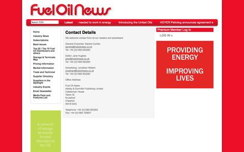 Screenshot of Contact Page fueloilnews.co.uk - Contact Details | Fuel Oil News - captured Aug. 4, 2016