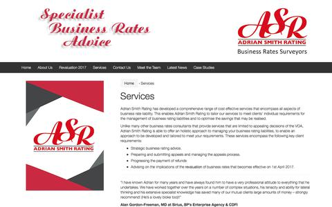 Screenshot of Services Page asrating.com - Business Rate Services - Adrian Smith Rating, UK - captured Oct. 7, 2017