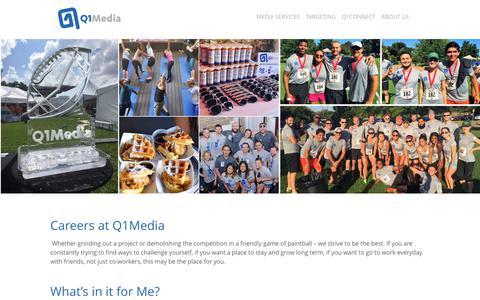 Screenshot of Jobs Page q1media.com - Job Postings at Q1Media - captured Nov. 18, 2018