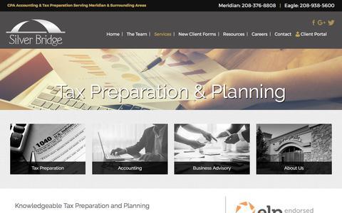 Screenshot of Services Page silverbridgecpas.com - Tax Preparation & Planning | Silver Bridge CPA | Meridian ID - captured Nov. 4, 2017