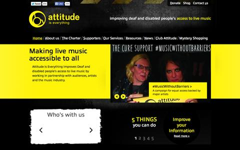 Screenshot of Home Page attitudeiseverything.org.uk - Attitude is Everything - Improving Deaf and disabled people's access to live music |  Homepage | Attitude is Everything - captured Sept. 30, 2014
