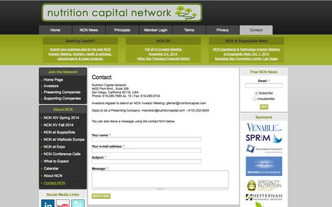 Screenshot of Contact Page nutritioncapital.com - Contact - captured Oct. 6, 2014
