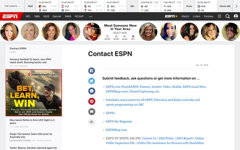 Screenshot of Contact Page espn.com - Rays fan club-record 24, walk 0 in 13-inning win - captured Aug. 18, 2019