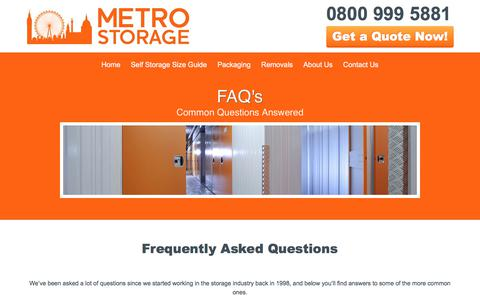 Screenshot of FAQ Page metro-storage.co.uk - F.A.Q's About Our London Self Storage Facility | Metro Storage - captured Oct. 18, 2017