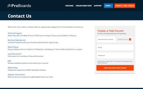Screenshot of Contact Page proboards.com - Contact Us   ProBoards - captured Oct. 29, 2014