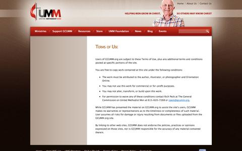 Screenshot of Privacy Page Terms Page gcumm.org - United Methodist Men / Contact Us - captured Oct. 22, 2014