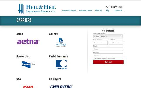 Screenshot of Support Page heilandheil.com - Our Carriers in Illinois and Beyond | Heil & Heil Insurance Agency - captured Nov. 10, 2018