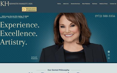 Screenshot of Home Page cosmeticdentistofdallas.com - Dentist Dallas | Cosmetic Dentistry | Kenneth Hamlett, DDS - captured Oct. 31, 2018