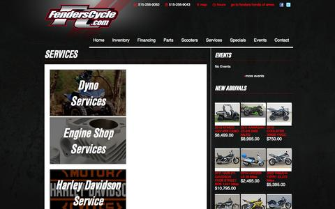 Screenshot of Services Page fenderscycle.com - Services   Fenders Cycle - captured Oct. 5, 2014