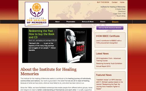 Screenshot of About Page healing-memories.org - Institute for Healing of Memories - captured June 14, 2016
