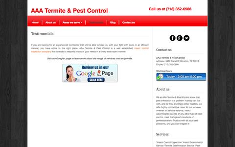 Screenshot of Testimonials Page bugstate-pestcontrol.com - See what people say about AAA Termite & Pest Control. - captured July 16, 2015