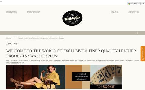 Screenshot of About Page walletsplus.net - About Us | Manufacturer & Exporter of Leather Goods | WalletsPlus - captured Nov. 28, 2016