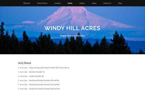 Screenshot of Hours Page windyhillacresoregon.com - Hours — Windy Hill Acres - captured Oct. 26, 2014