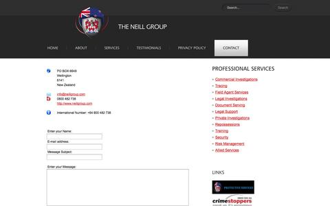 Screenshot of Contact Page neillgroup.com - The Neill Group - New Zealand Private Investigators, Process Servers, Security Specialists & Field Agents - captured Oct. 9, 2014