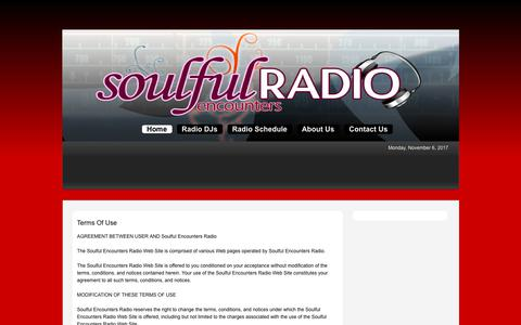 Screenshot of Terms Page soulfulencountersradio.com - Soulful Encounters Radio > Home - captured Nov. 7, 2017