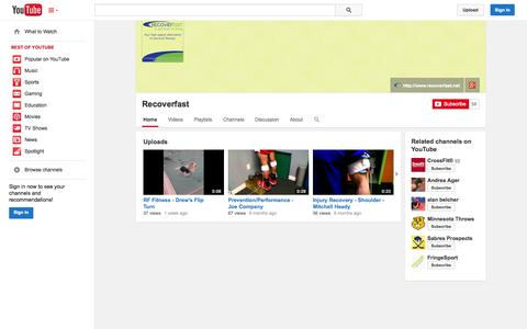 Screenshot of YouTube Page youtube.com - Recoverfast  - YouTube - captured Oct. 25, 2014