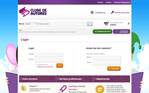 Screenshot of Login Page clubedeautores.com.br - Clube de Autores - captured Oct. 7, 2018