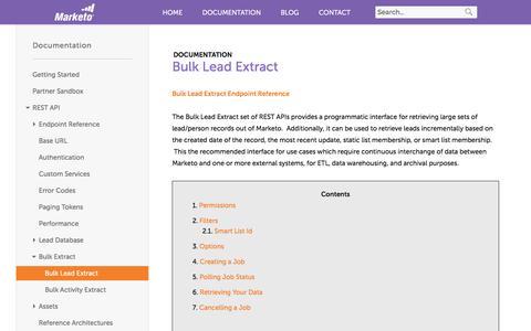 Screenshot of marketo.com - Bulk Lead Extract - Marketo Developers - captured June 21, 2017