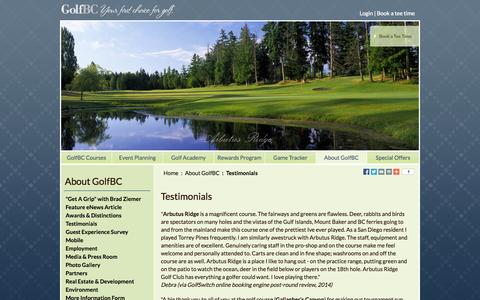 Screenshot of Testimonials Page golfbc.com - GolfBC Testimonials - Golf Course Owners & Operators in British Columbia and Hawaii - captured Sept. 25, 2014