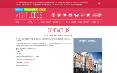 Screenshot of Contact Page visitleeds.co.uk - Visit Leeds - Contact Us - captured Sept. 20, 2018