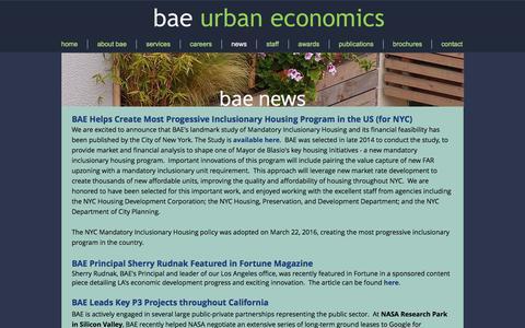 Screenshot of Press Page bae1.com - bae news - captured Sept. 30, 2016