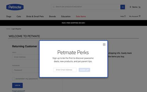 Screenshot of Login Page petmate.com - Petmate - captured Sept. 22, 2018