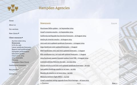Screenshot of Press Page hampden.co.uk - Hampden Agencies Ltd - Newsroom - captured Oct. 1, 2014