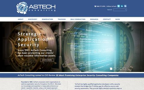 Screenshot of Home Page Blog About Page Privacy Page Contact Page Jobs Page Case Studies Page Testimonials Page astechconsulting.com - Home - AsTech Consulting - Strategic Application Security - captured Sept. 30, 2014