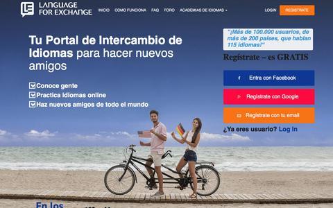 Screenshot of Home Page intercambiodeidioma.com - Intercambio de Idiomas Online - Intercambios al extranjero en verano - captured Sept. 22, 2018