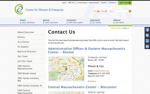 Screenshot of Contact Page Maps & Directions Page cweonline.org - Contact Us - ABOUT Our Work - Center for Women & Enterprise – MA and RI - captured Oct. 22, 2014
