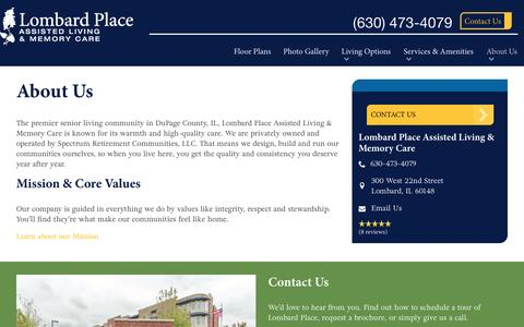 Screenshot of About Page spectrumretirement.com - About Lombard Place Assisted Living & Memory Care - captured Jan. 23, 2017