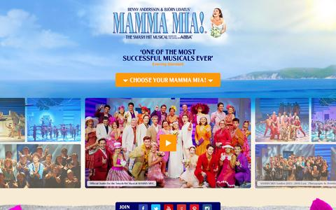 Screenshot of Home Page mamma-mia.com - MAMMA MIA! The Global Smash Hit - captured Jan. 16, 2016