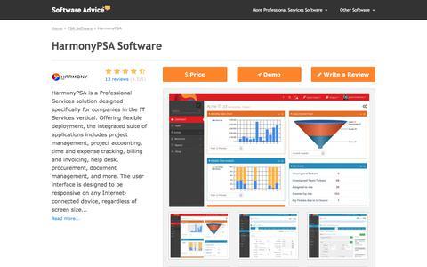 HarmonyPSA Software - 2017 Reviews, Pricing & Demo