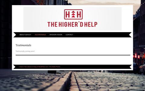 Screenshot of Testimonials Page wordpress.com - Testimonials | The Higher'D Help - captured Sept. 12, 2014