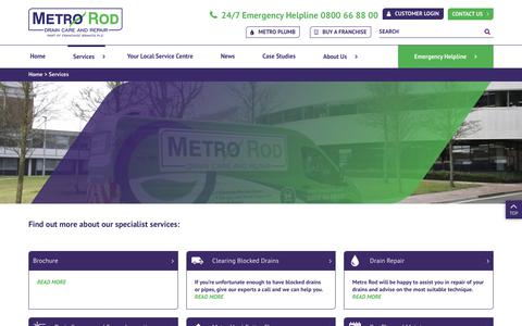 Screenshot of Services Page metrorod.co.uk - Services - Metro Rod - captured July 6, 2018