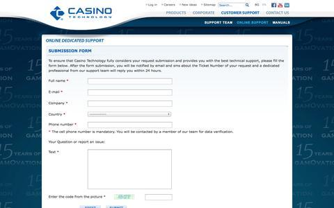 Screenshot of Support Page casino-technology.com - Casino Technology - captured Sept. 23, 2014