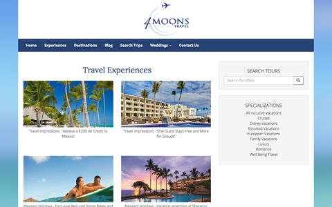 Screenshot of Products Page 4moonstravel.com - Travel Experiences - captured Sept. 21, 2018