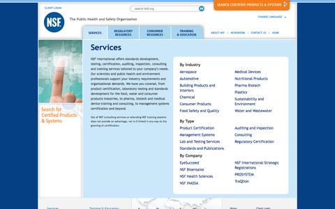 Screenshot of Services Page nsf.org - Services - NSF International - captured Nov. 1, 2019
