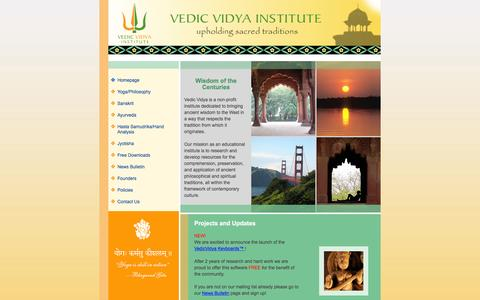 Screenshot of Home Page Site Map Page vedicvidya.org - Welcome to Vedic Vidya Institute - captured June 13, 2016